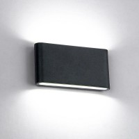 LED WALL LIGHT ROUNDED 2X6W 4000K IP65 BLACK