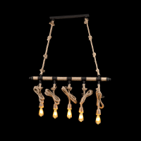 ROPE CHANDELIER 5XE27 BROWN/RUST L1030XH500mm